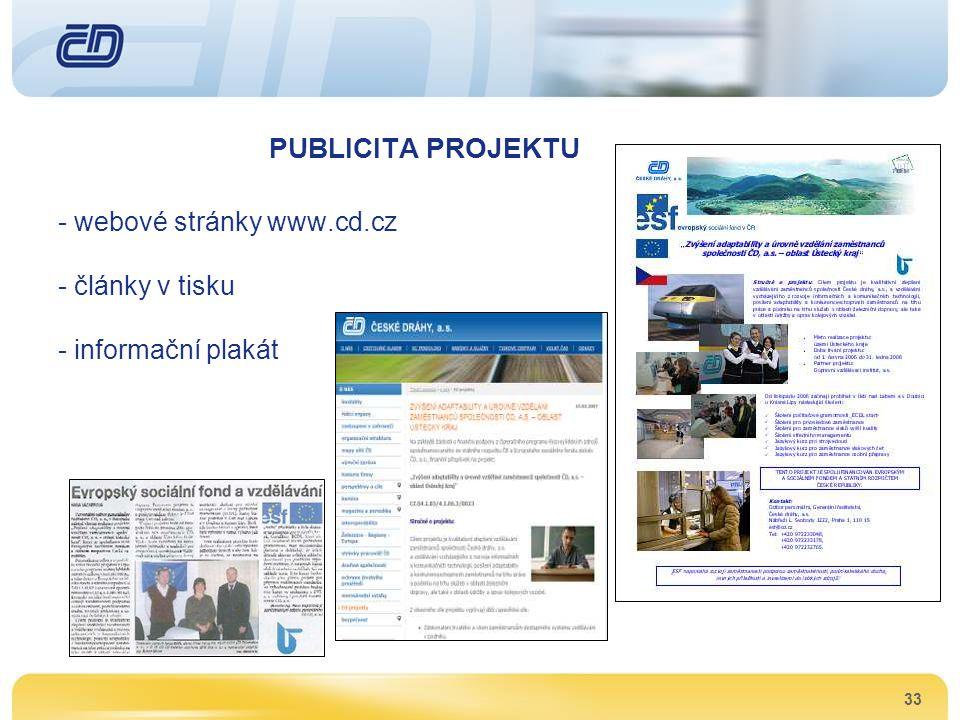 PUBLICITA PROJEKTU webové stránky www.cd.cz články v tisku
