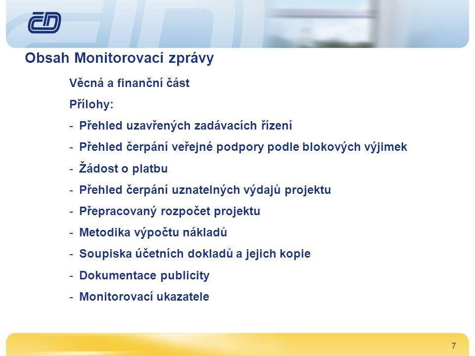 Obsah Monitorovací zprávy