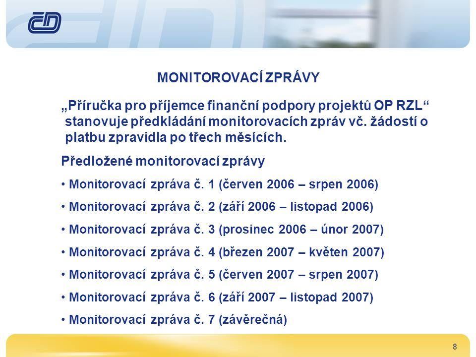 Předložené monitorovací zprávy