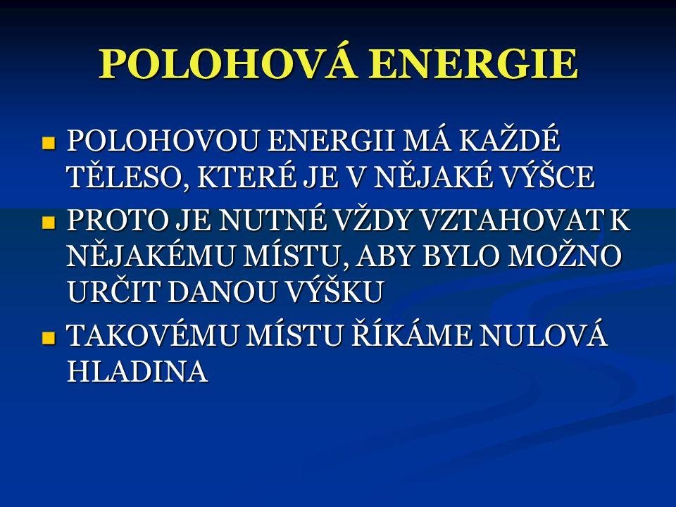 POLOHOVÁ ENERGIE POLOHOVOU ENERGII MÁ KAŽDÉ TĚLESO, KTERÉ JE V NĚJAKÉ VÝŠCE.