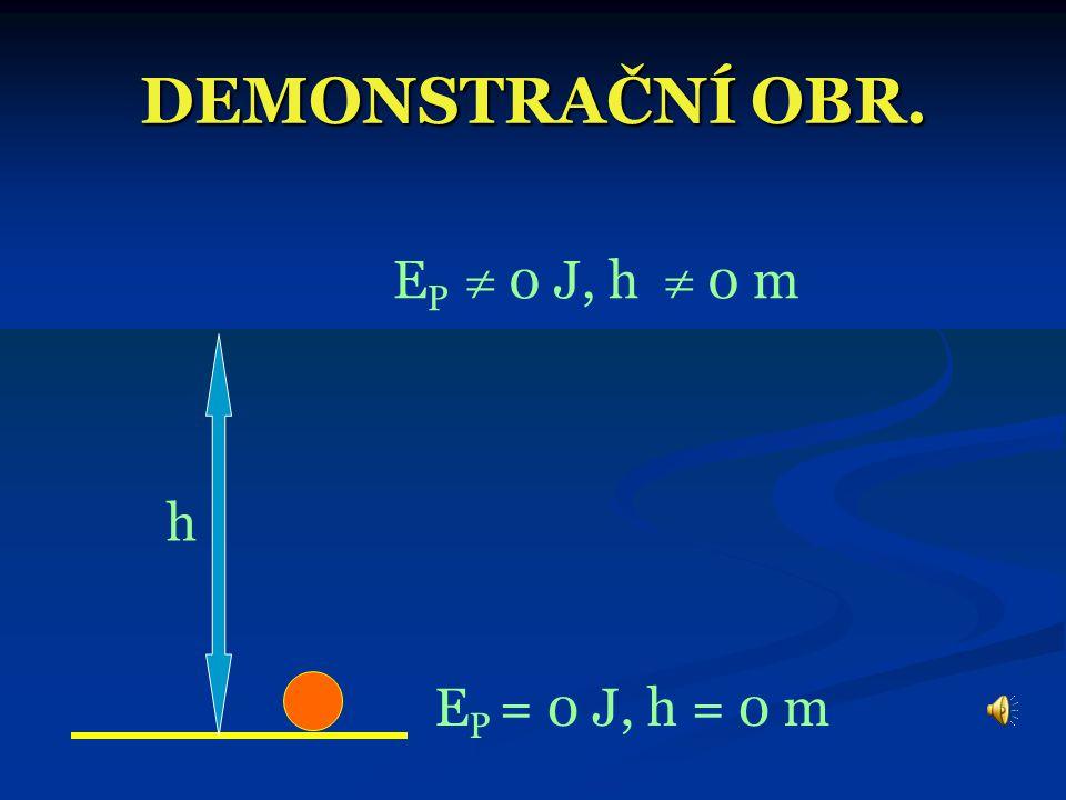 DEMONSTRAČNÍ OBR. EP  0 J, h  0 m h EP = 0 J, h = 0 m