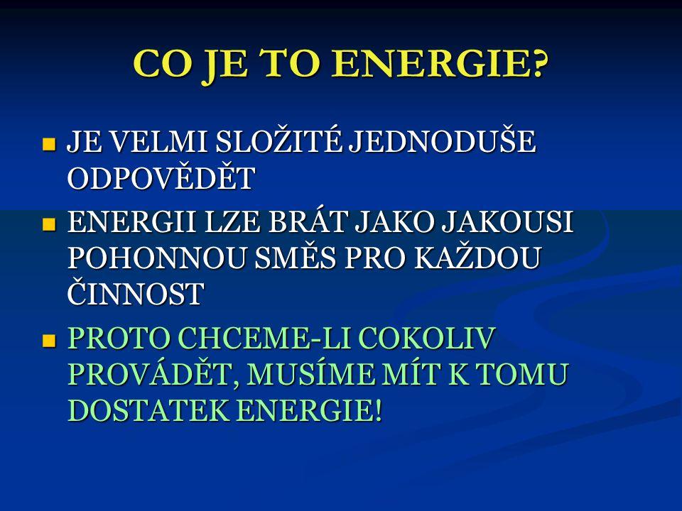 CO JE TO ENERGIE JE VELMI SLOŽITÉ JEDNODUŠE ODPOVĚDĚT