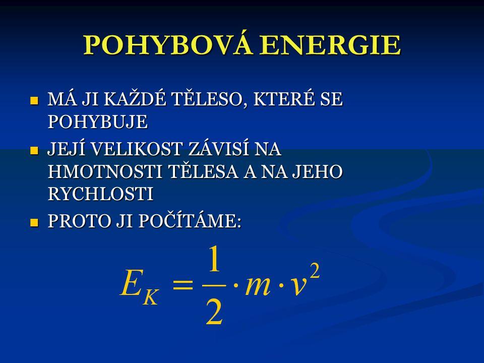 POHYBOVÁ ENERGIE MÁ JI KAŽDÉ TĚLESO, KTERÉ SE POHYBUJE