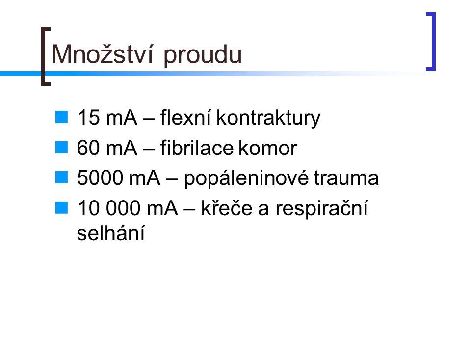 Množství proudu 15 mA – flexní kontraktury 60 mA – fibrilace komor