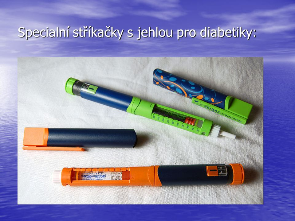 Specialní stříkačky s jehlou pro diabetiky: