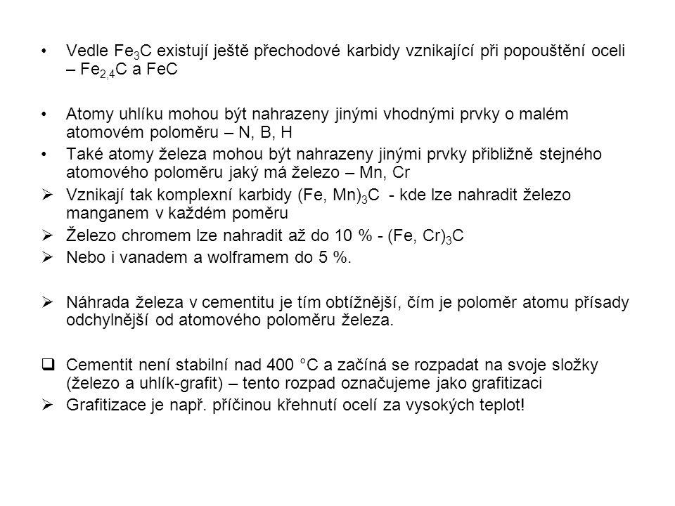 Vedle Fe3C existují ještě přechodové karbidy vznikající při popouštění oceli – Fe2,4C a FeC