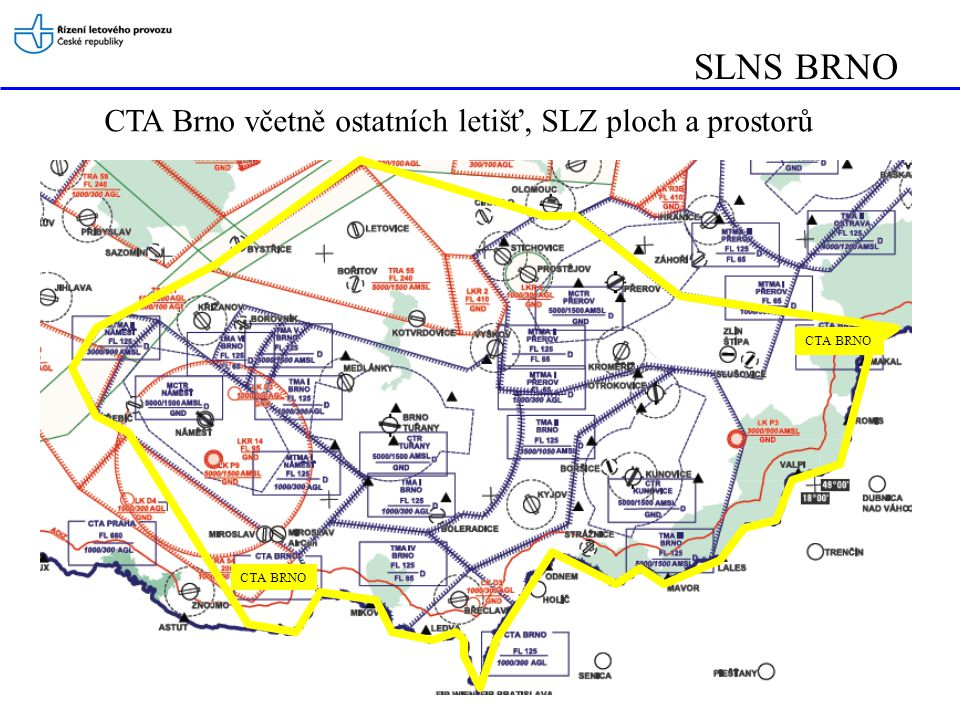 SLNS BRNO CTA Brno včetně ostatních letišť, SLZ ploch a prostorů