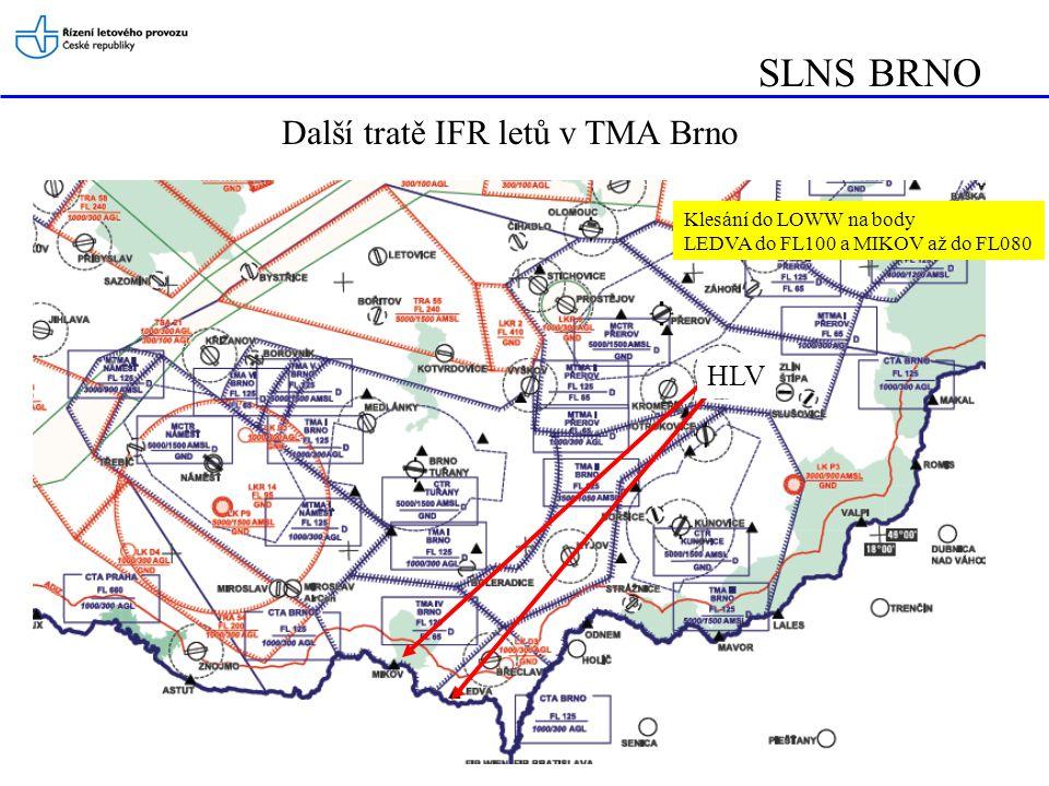 SLNS BRNO Další tratě IFR letů v TMA Brno HLV Klesání do LOWW na body