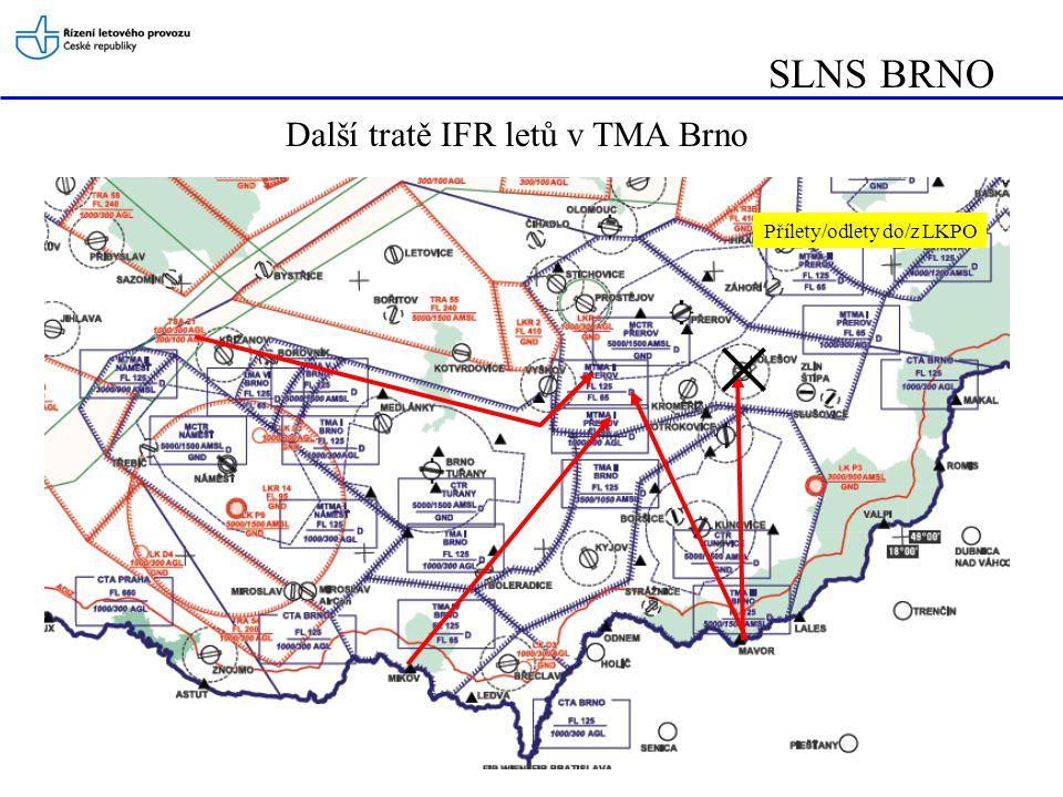 SLNS BRNO Další tratě IFR letů v TMA Brno Přílety/odlety do/z LKPO