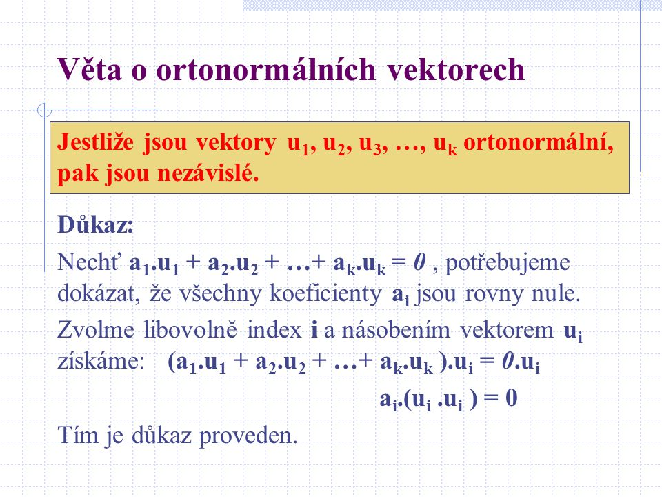 Věta o ortonormálních vektorech