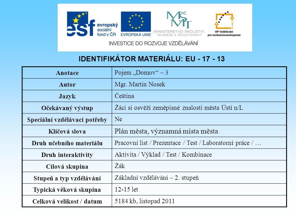 IDENTIFIKÁTOR MATERIÁLU: EU - 17 - 13 Plán města, významná místa města