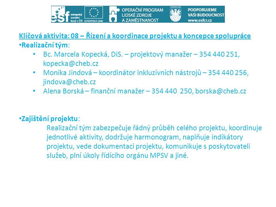 Klíčová aktivita: 08 – Řízení a koordinace projektu a koncepce spolupráce