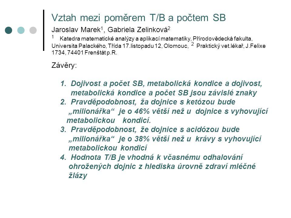 Vztah mezi poměrem T/B a počtem SB Jaroslav Marek1, Gabriela Zelinková2 1 Katedra matematické analýzy a aplikací matematiky, Přírodovědecká fakulta, Universita Palackého, Třída 17.listopadu 12, Olomouc, 2 Praktický vet.lékař, J.Felixe 1734, 74401 Frenštát p.R.