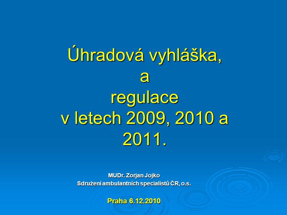 Úhradová vyhláška, a regulace v letech 2009, 2010 a 2011.