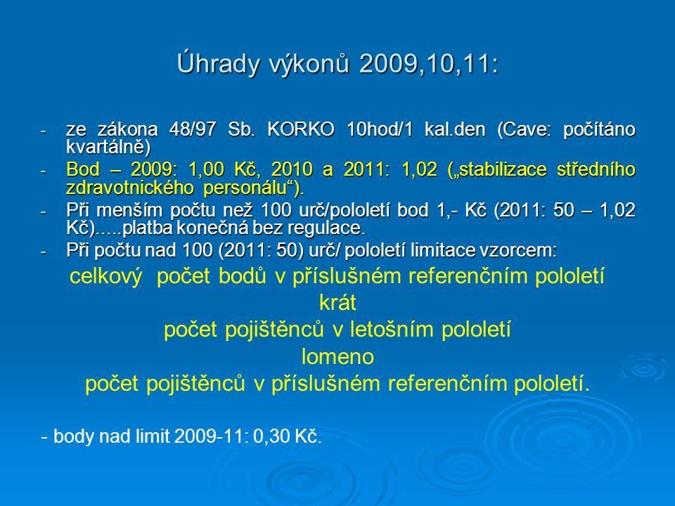 Úhrady výkonů 2009,10,11: ze zákona 48/97 Sb. KORKO 10hod/1 kal.den (Cave: počítáno kvartálně)