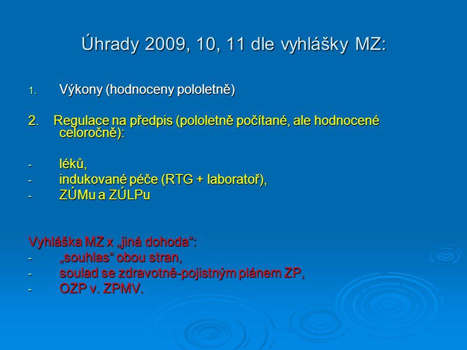 Úhrady 2009, 10, 11 dle vyhlášky MZ: