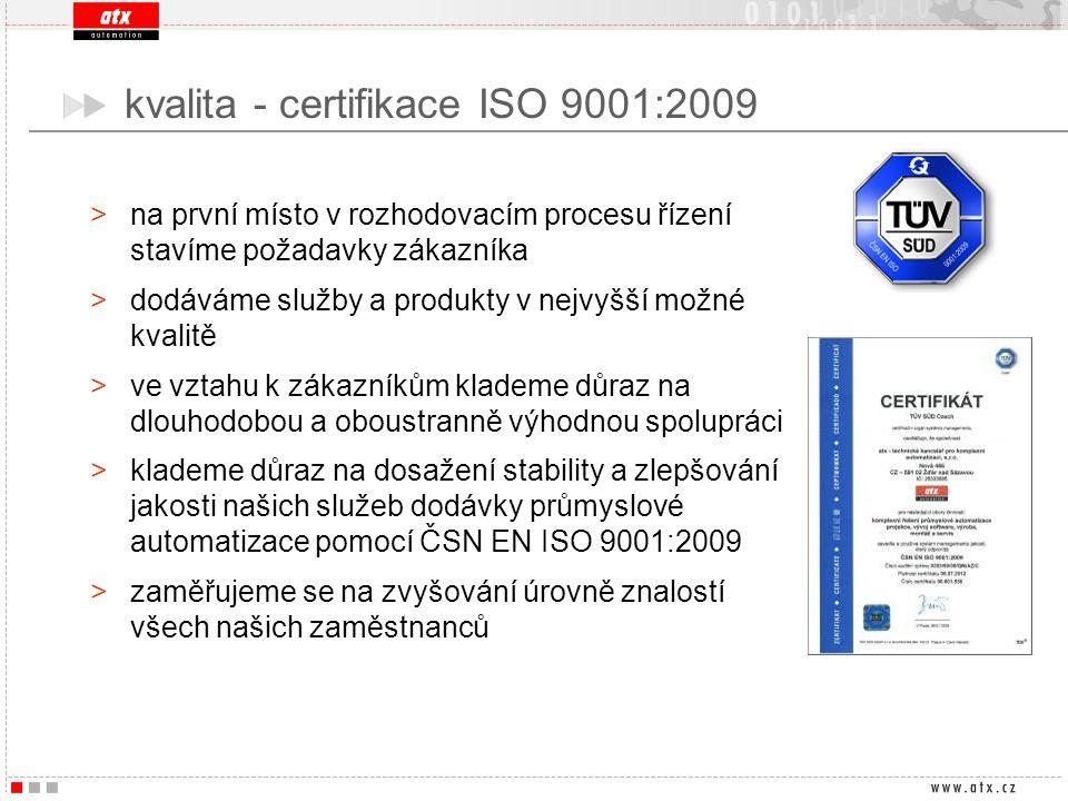 kvalita - certifikace ISO 9001:2009