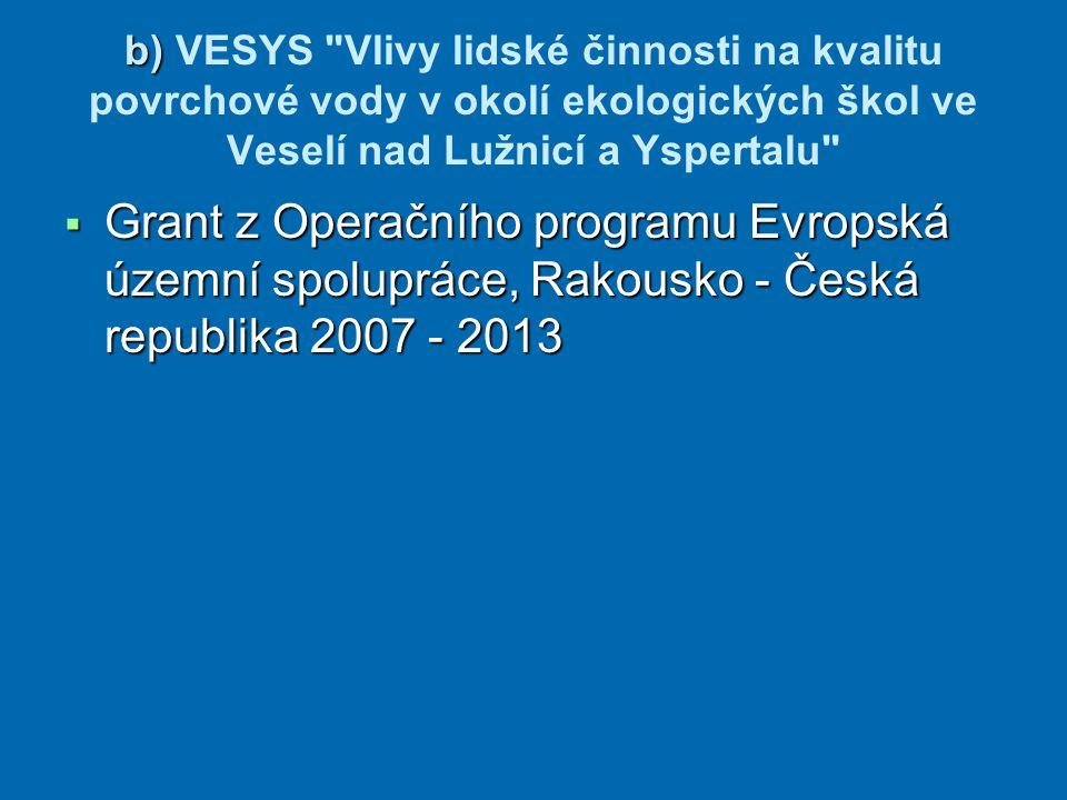 b) VESYS Vlivy lidské činnosti na kvalitu povrchové vody v okolí ekologických škol ve Veselí nad Lužnicí a Yspertalu