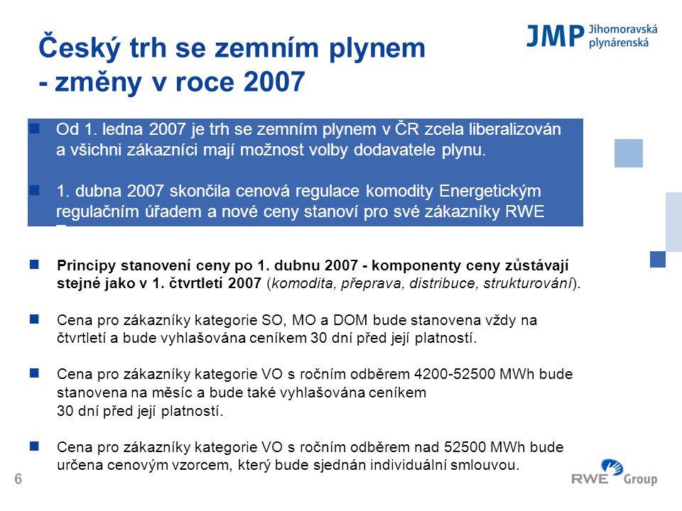 Český trh se zemním plynem - změny v roce 2007