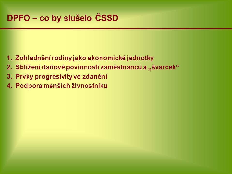 DPFO – co by slušelo ČSSD