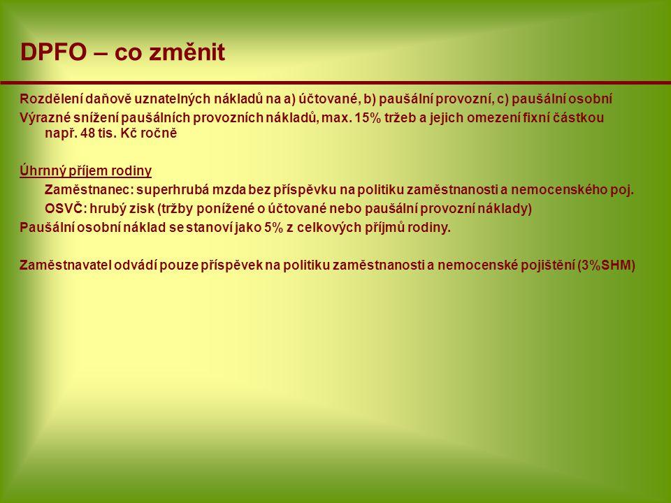 DPFO – co změnit Rozdělení daňově uznatelných nákladů na a) účtované, b) paušální provozní, c) paušální osobní.