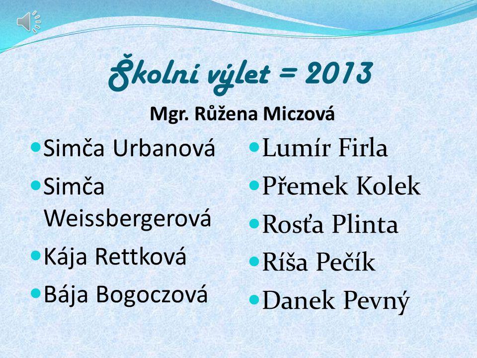 Školní výlet = 2013 Simča Urbanová Simča Weissbergerová Kája Rettková