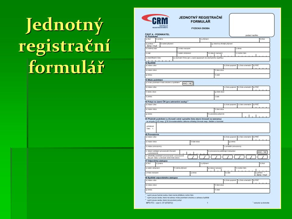 Jednotný registrační formulář