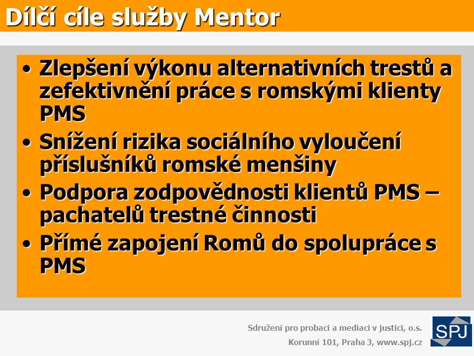 Dílčí cíle služby Mentor