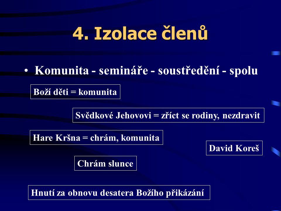 4. Izolace členů Komunita - semináře - soustředění - spolu