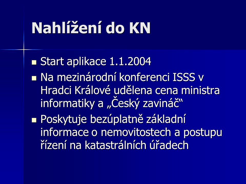 Nahlížení do KN Start aplikace 1.1.2004