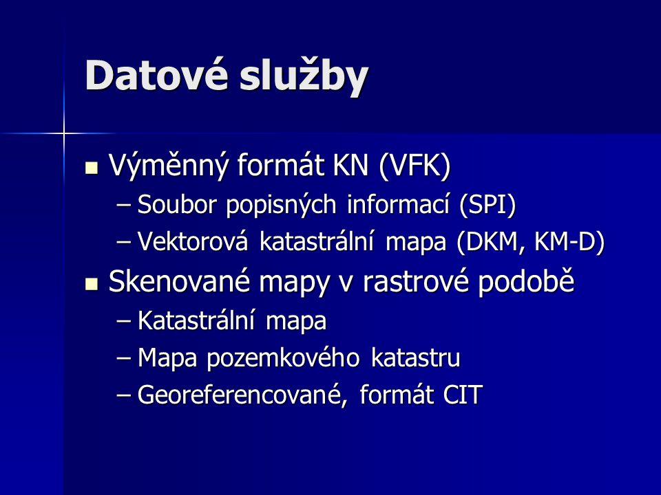 Datové služby Výměnný formát KN (VFK) Skenované mapy v rastrové podobě