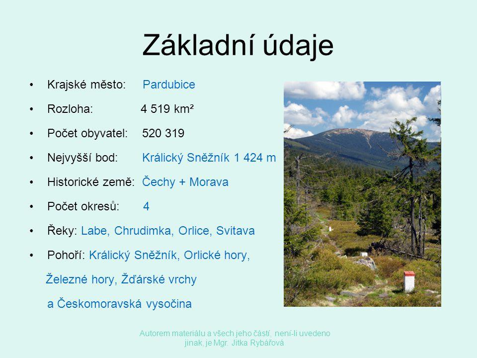 Základní údaje Krajské město: Pardubice Rozloha: 4 519 km²