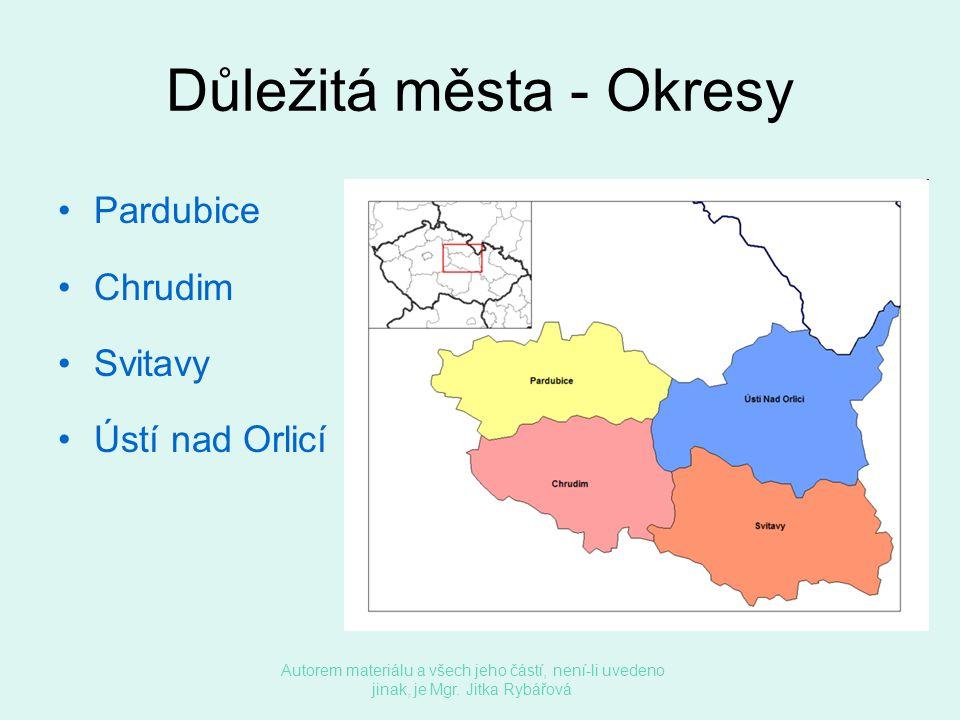 Důležitá města - Okresy