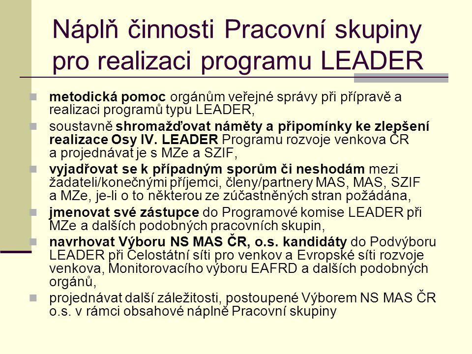 Náplň činnosti Pracovní skupiny pro realizaci programu LEADER