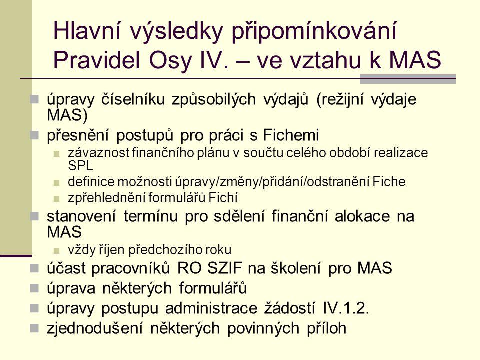 Hlavní výsledky připomínkování Pravidel Osy IV. – ve vztahu k MAS