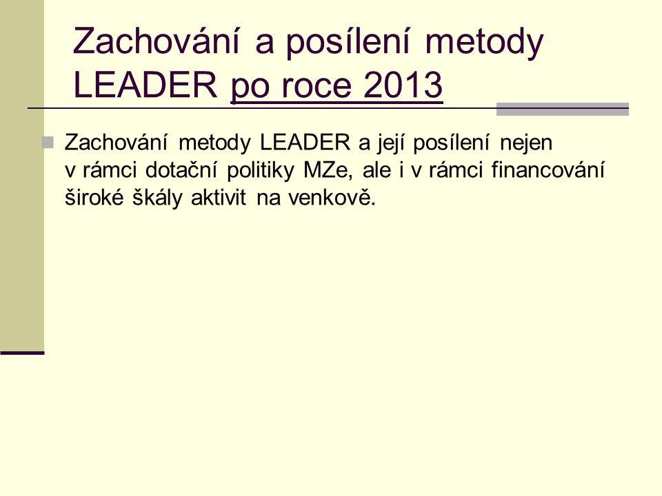 Zachování a posílení metody LEADER po roce 2013