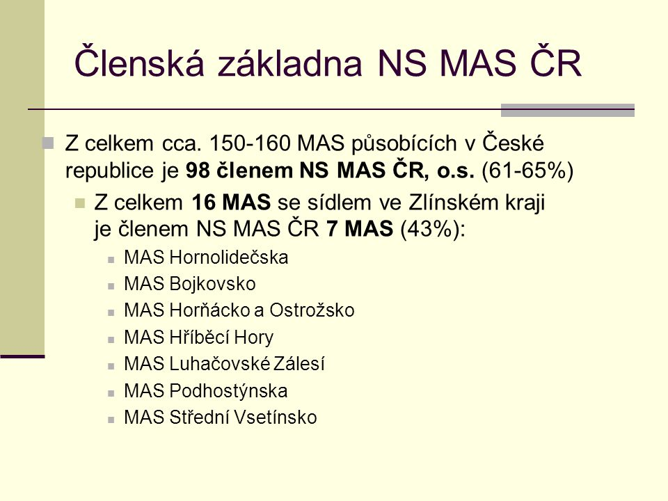 Členská základna NS MAS ČR