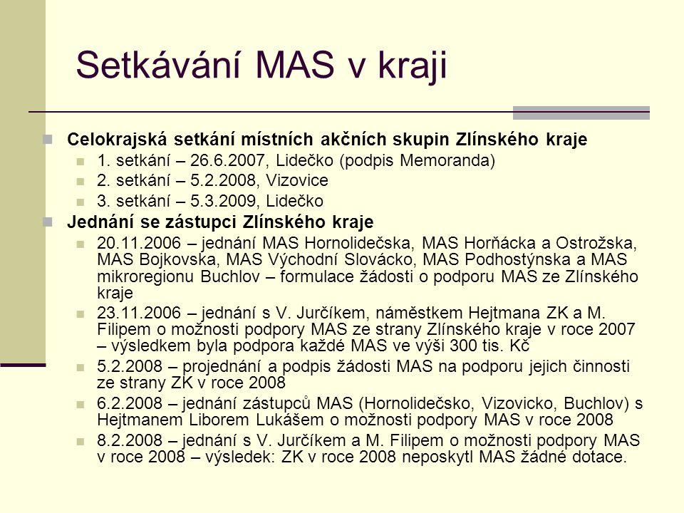 Setkávání MAS v kraji Celokrajská setkání místních akčních skupin Zlínského kraje. 1. setkání – 26.6.2007, Lidečko (podpis Memoranda)
