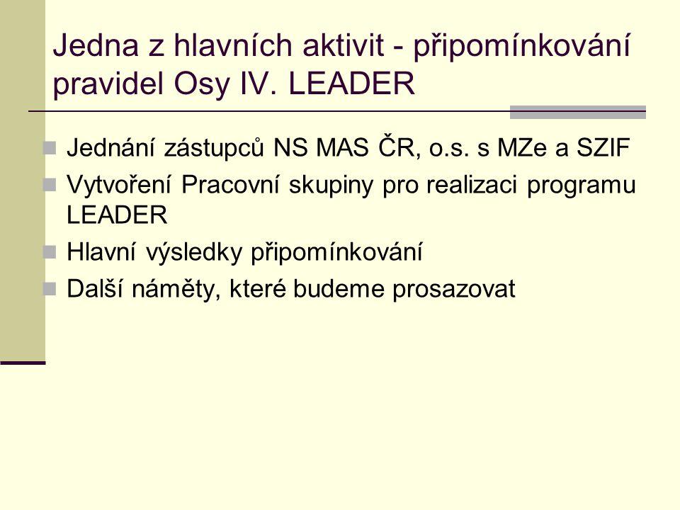 Jedna z hlavních aktivit - připomínkování pravidel Osy IV. LEADER