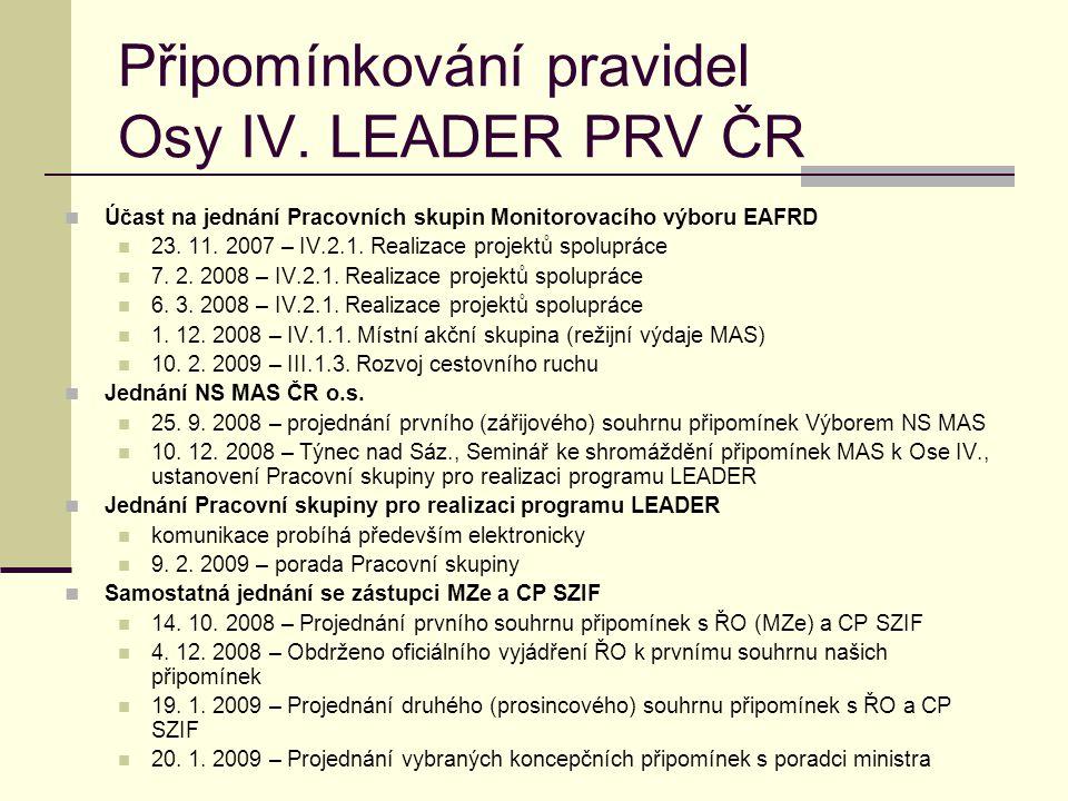 Připomínkování pravidel Osy IV. LEADER PRV ČR