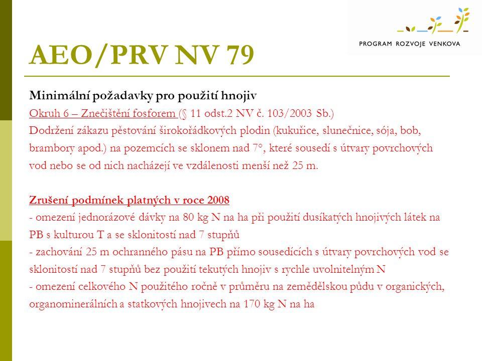 AEO/PRV NV 79 Minimální požadavky pro použití hnojiv
