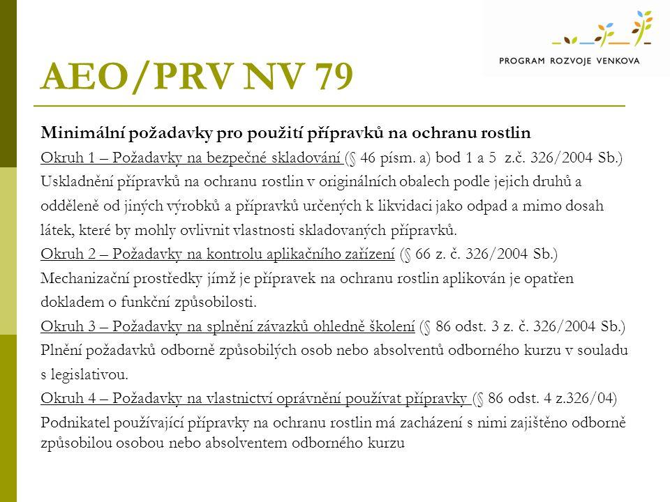 AEO/PRV NV 79 Minimální požadavky pro použití přípravků na ochranu rostlin.