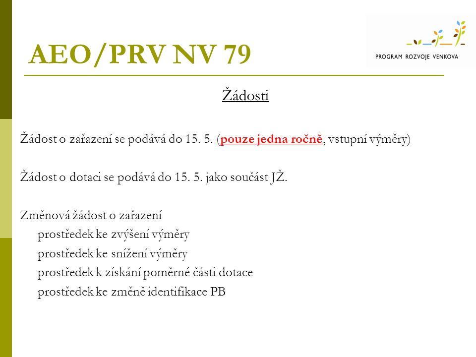 AEO/PRV NV 79 Žádosti. Žádost o zařazení se podává do 15. 5. (pouze jedna ročně, vstupní výměry)