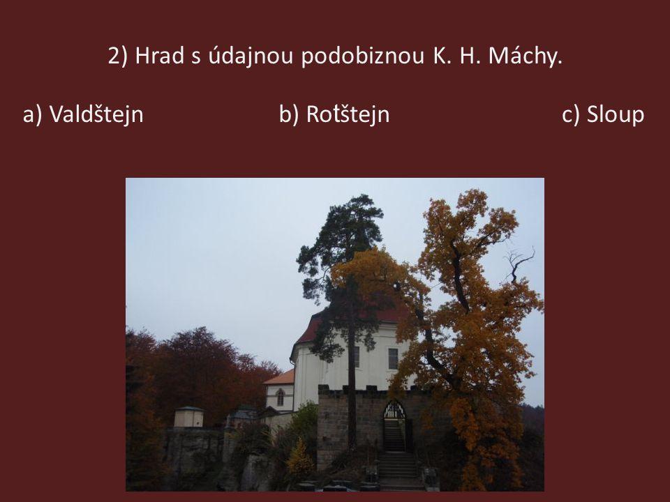 2) Hrad s údajnou podobiznou K. H. Máchy.