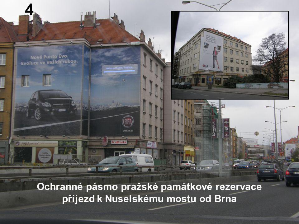 Ochranné pásmo pražské památkové rezervace příjezd k Nuselskému mostu od Brna