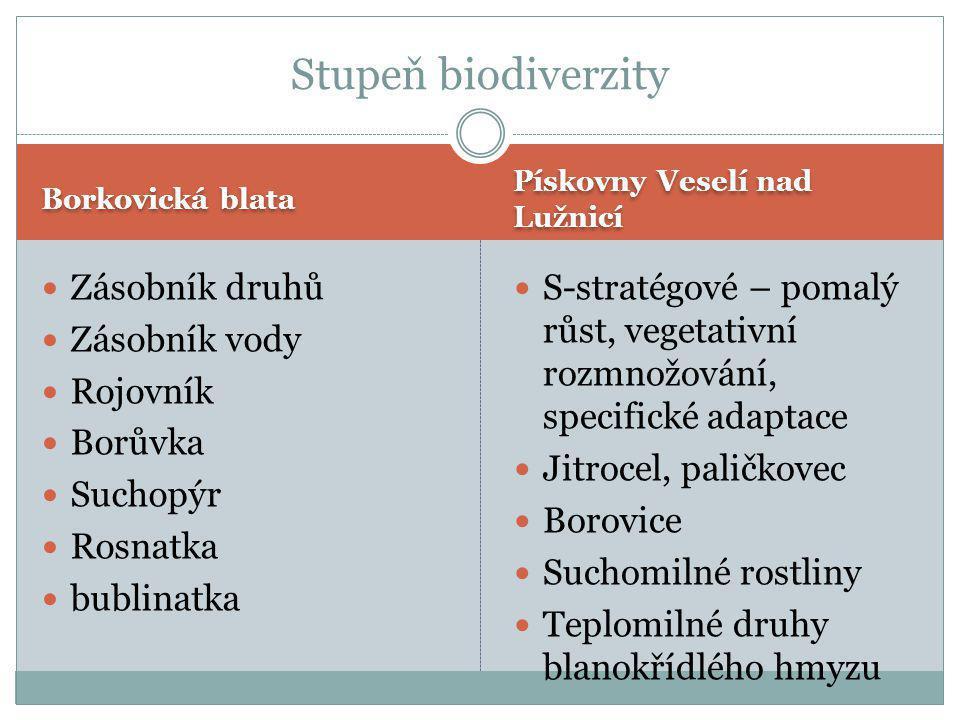Stupeň biodiverzity Zásobník druhů Zásobník vody Rojovník Borůvka