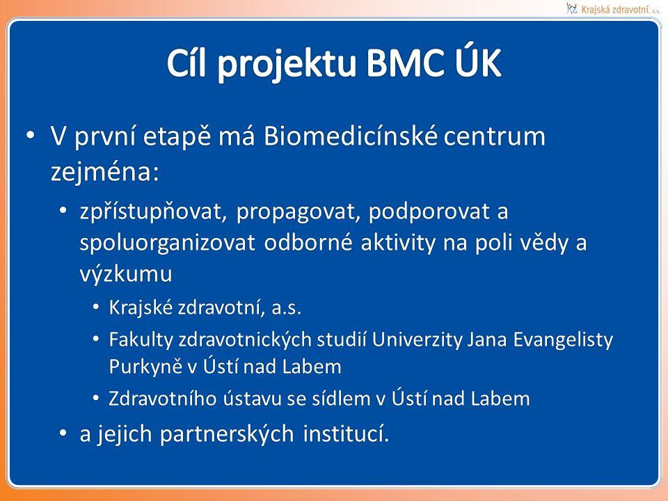 Cíl projektu BMC ÚK V první etapě má Biomedicínské centrum zejména: