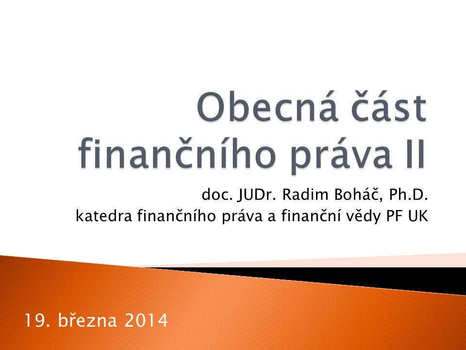 Obecná část finančního práva II