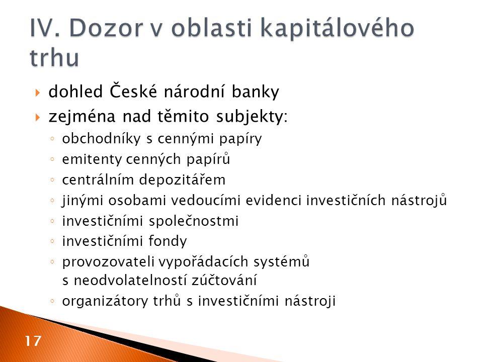 IV. Dozor v oblasti kapitálového trhu