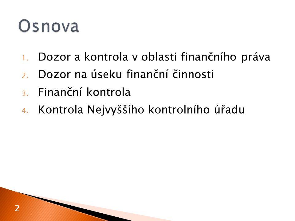 Osnova Dozor a kontrola v oblasti finančního práva